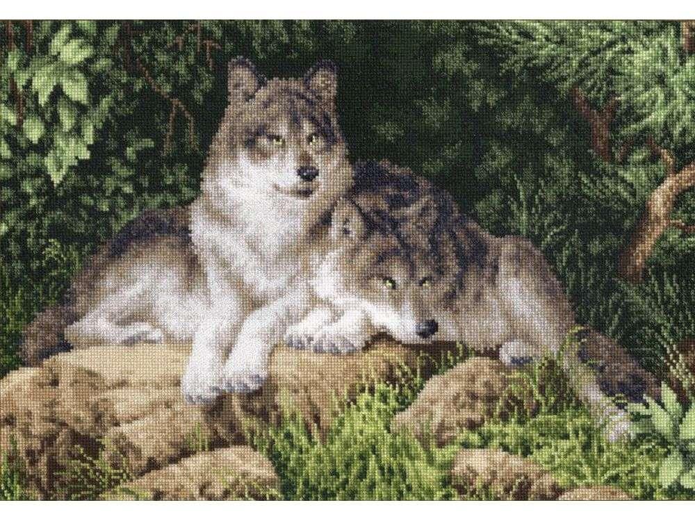 Купить Вышивка крестом, Набор для вышивания «Лесные хищники», Золотое Руно, 24, 5x35 см, ДЖ-027
