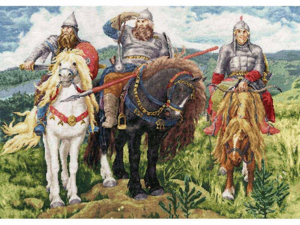 Купить Вышивка крестом, Набор для вышивания «Три Богатыря», Золотое Руно, 40, 9x56, 6 см, МК-035