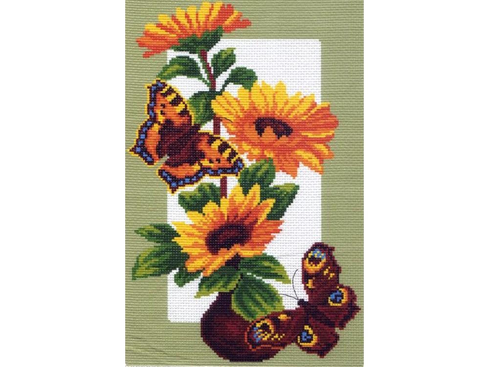 Вышивка крестом, Набор для вышивания «Подсолнухи и бабочки», Матренин Посад, 28x37 см, 0473/Н  - купить со скидкой