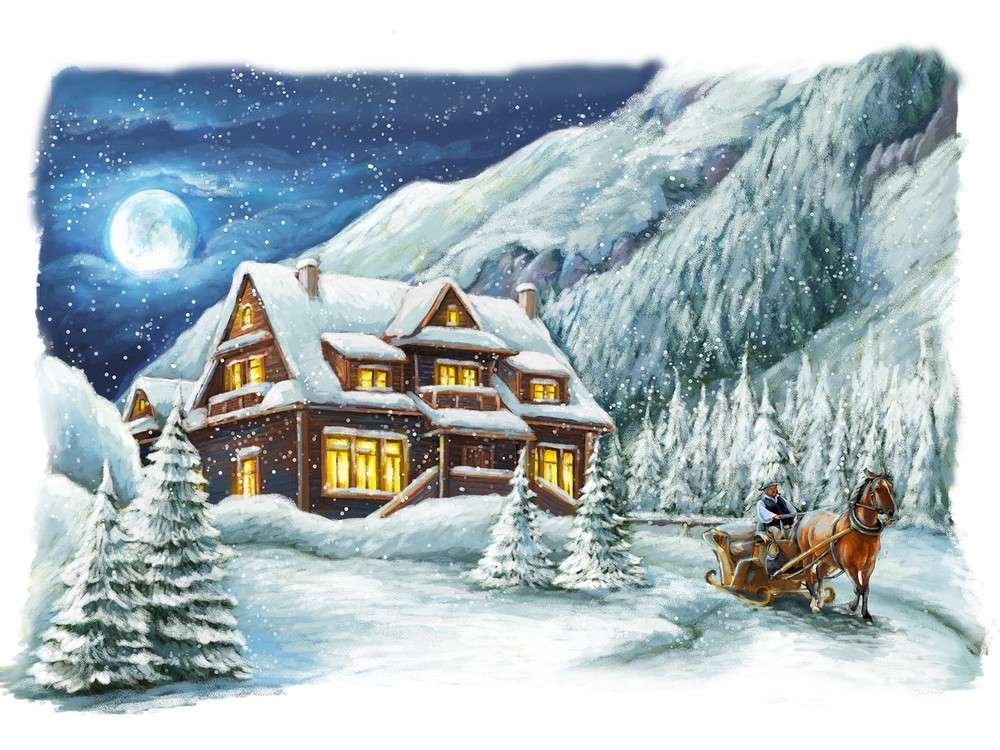 Купить Вышивка крестом, Набор для вышивания «Морозный вечер», Матренин Посад, 37x49 см, 1845/Н