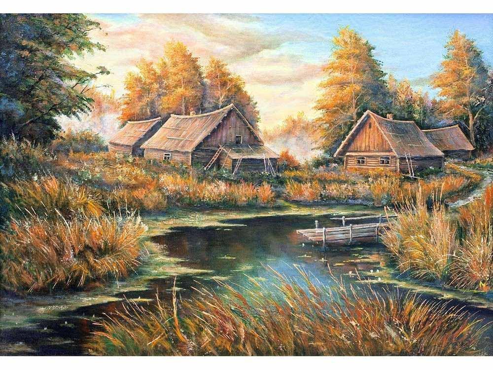 Купить Вышивка крестом, Набор для вышивания «Осень в деревне», Матренин Посад, 28x37 см, 1872/Н
