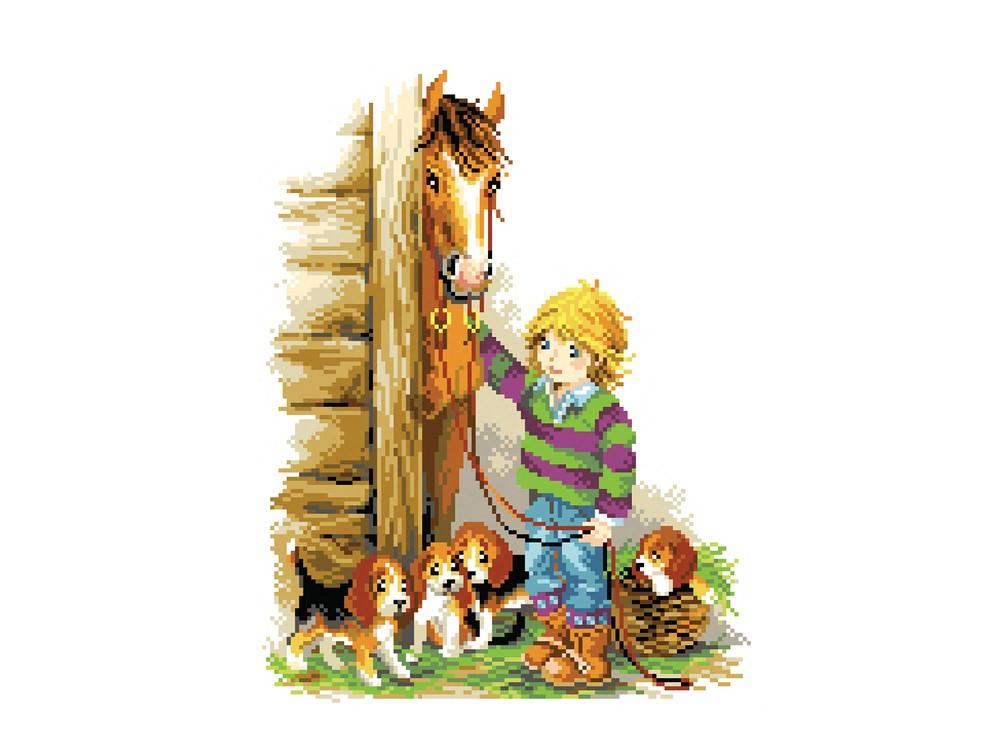 Купить Вышивка крестом, Набор для вышивания «На конюшне», Матренин Посад, 28x34 см, 6109/СК