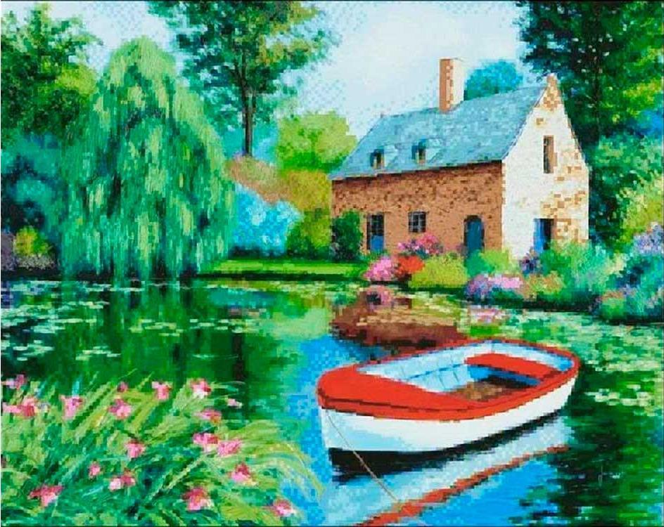 Купить Алмазная вышивка «Дом у пруда», Painting Diamond, 40x50 см, GF1493