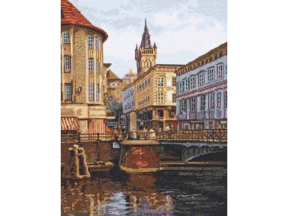 Купить Вышивка крестом, Набор для вышивания «Лавочный мост. Старый Кёнигсберг», Палитра, 27x35 см, 08.020