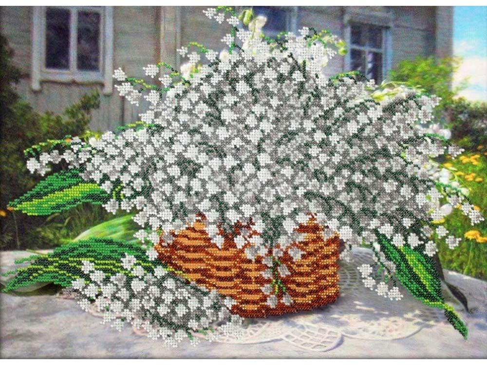 Купить Вышивка бисером, Набор вышивки бисером «Лукошко ландышей», Паутинка, 38x28 см, Б-1267