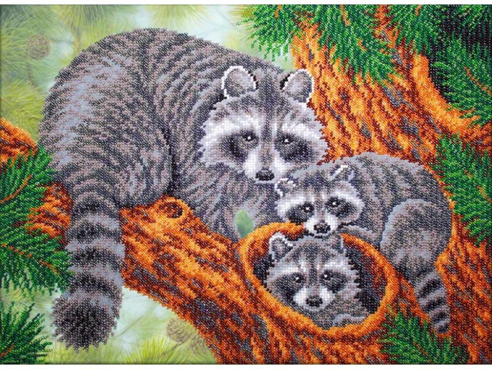 Купить Вышивка бисером, Набор вышивки бисером «Енотики», Паутинка, 38x28 см, Б-1465