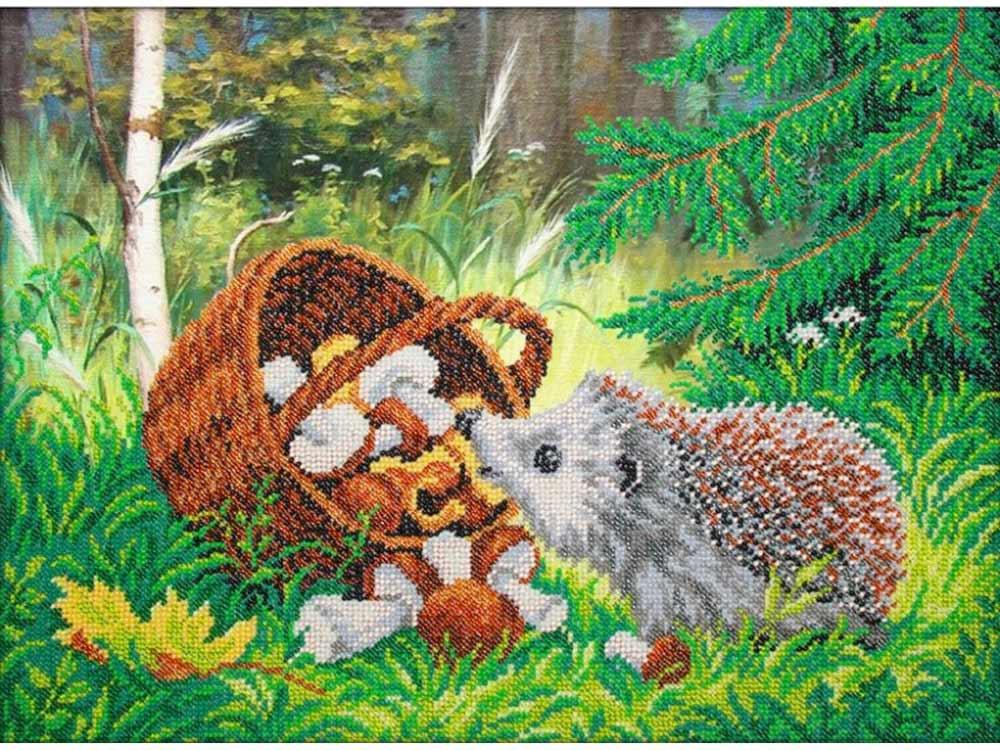 Купить Вышивка бисером, Набор вышивки бисером «Ёжик», Паутинка, 38x28 см, Б-1466