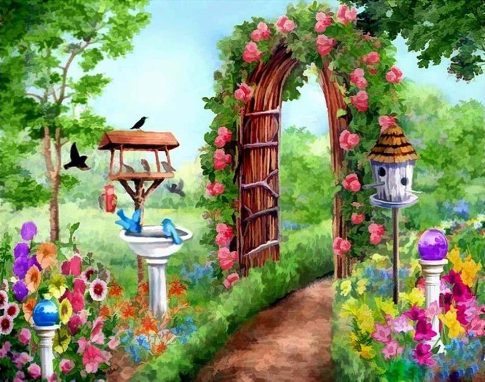 Фото сада рисованные картинки