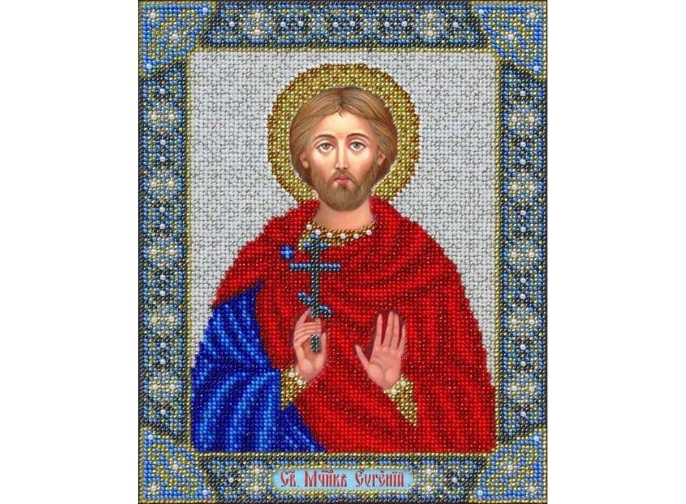 Купить Вышивка бисером, Набор вышивки бисером «Святой Евгений», Паутинка, 20x25 см, Б-1079
