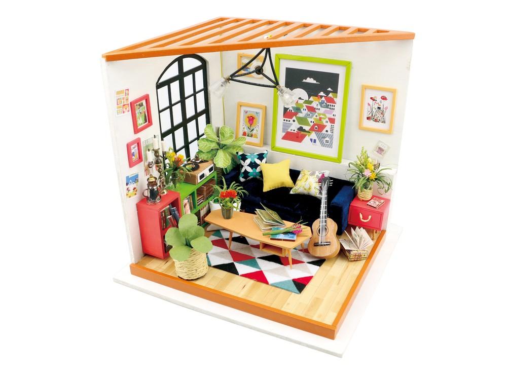 Купить Набор для создания миниатюры (румбокс) «Гостиная музыканта», Цветной, 20x18, 5x18, 7 см, DG106