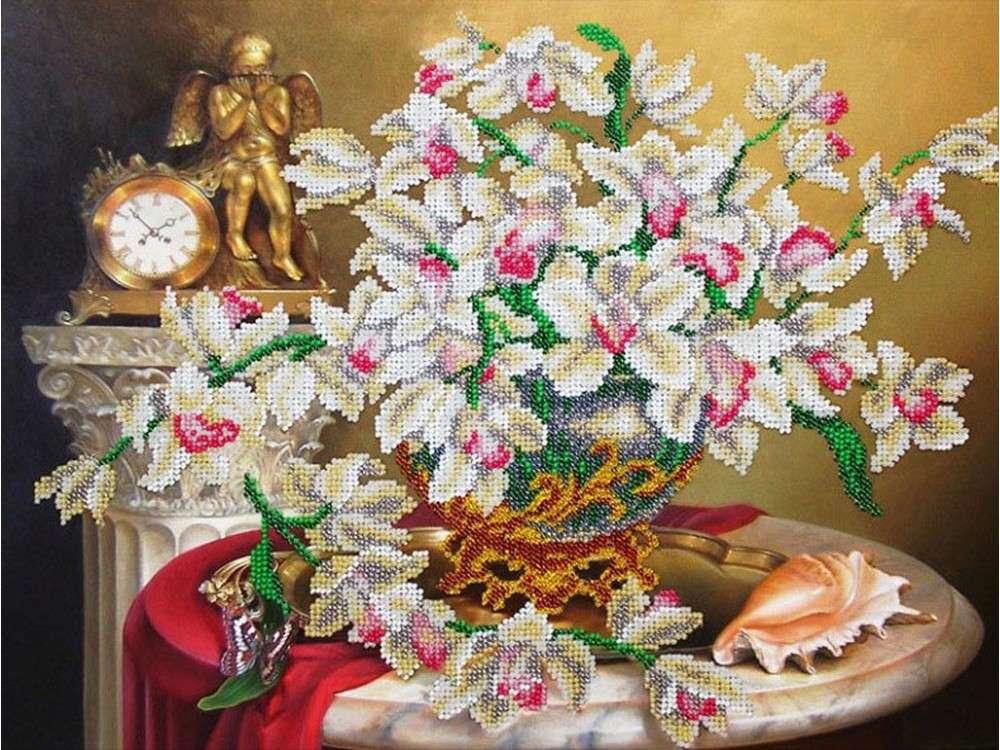 Купить Вышивка бисером, Набор вышивки бисером «Орхидеи», Паутинка, 38x28 см, Б-1271