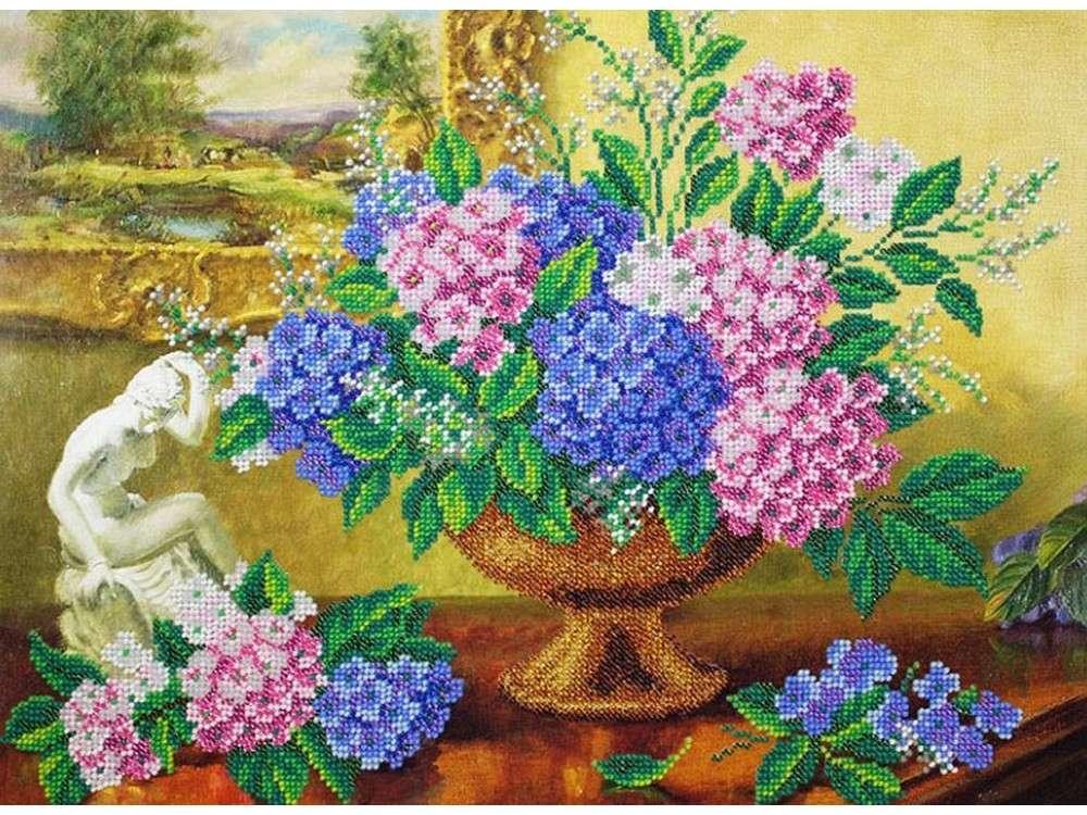 Купить Вышивка бисером, Набор вышивки бисером «Гортензия», Паутинка, 38x28 см, Б-1277