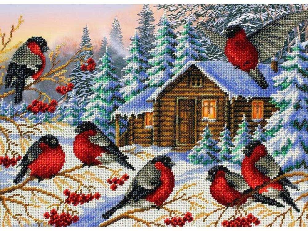 Купить Вышивка бисером, Набор вышивки бисером «Снегири», Паутинка, 38x28 см, Б-1437