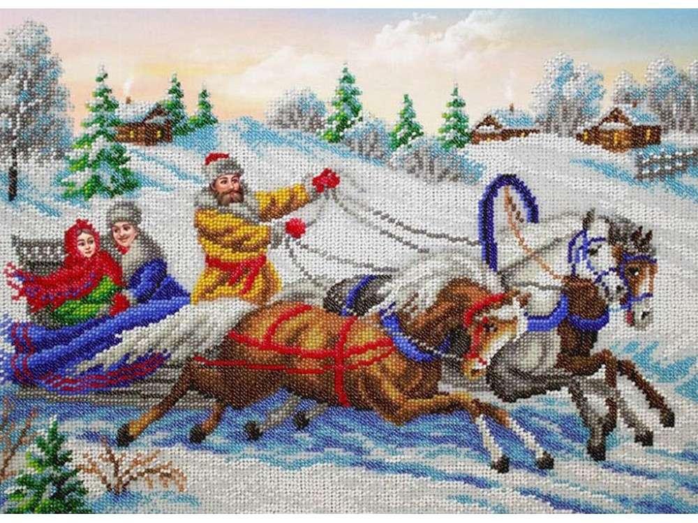 Купить Вышивка бисером, Набор вышивки бисером «Тройка», Паутинка, 38x28 см, Б-1471