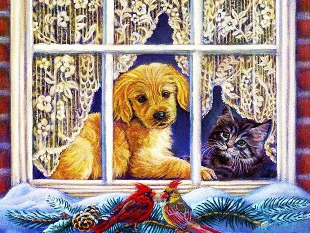 Открытки уфа, картинки с котами и собаками зимой рисованные вертикальные