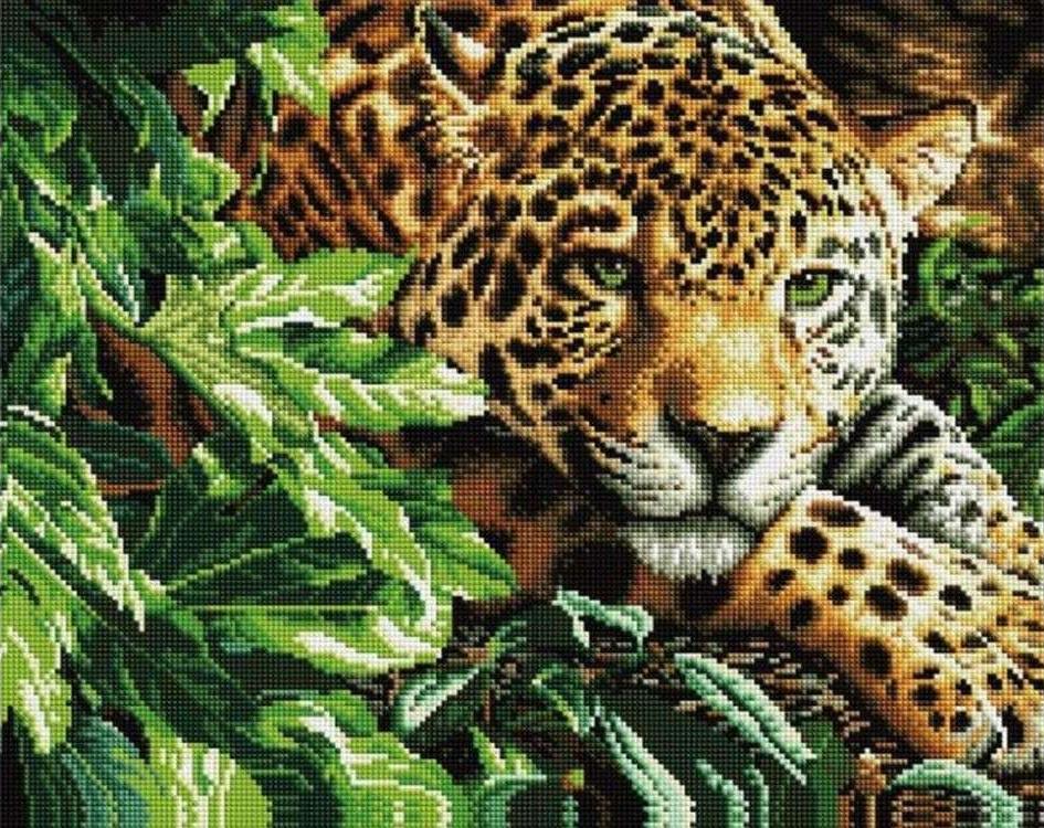 Купить Алмазная вышивка «Леопард», Painting Diamond, 40x50 см, GF0006