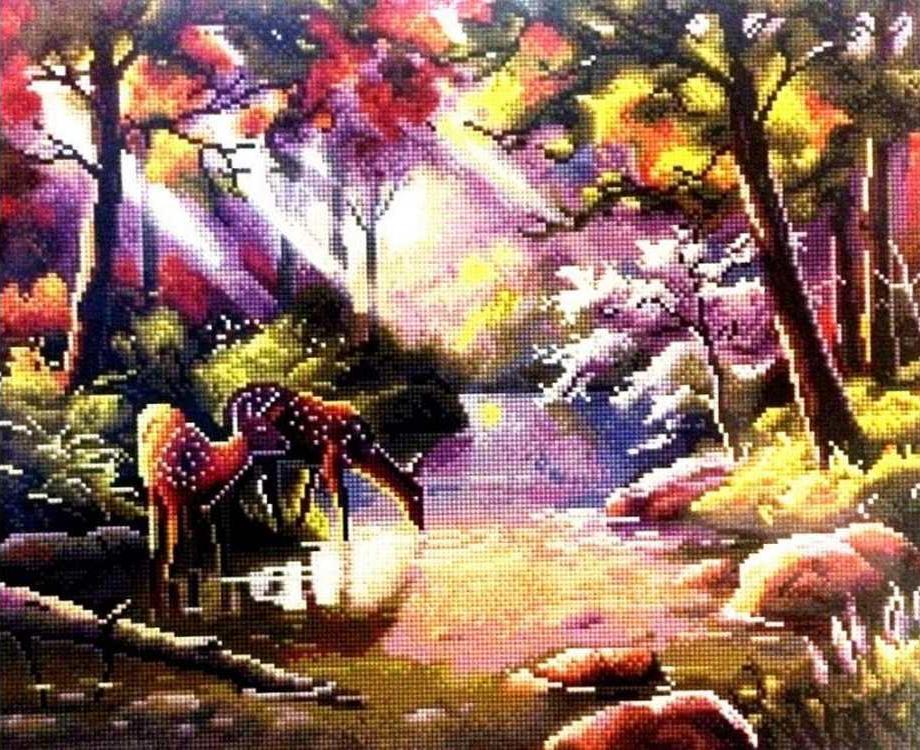 Купить Алмазная вышивка «Тихий лес», Painting Diamond, 40x50 см, GF1655