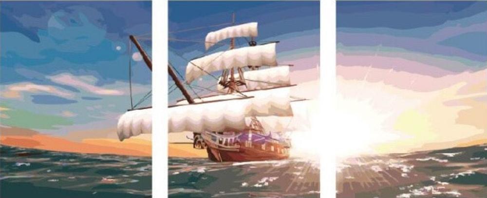 Картина по номерам «Парусник», Цветной (Standart), Китай, 3 шт. 40x50 см, PX5157_Z  - купить со скидкой