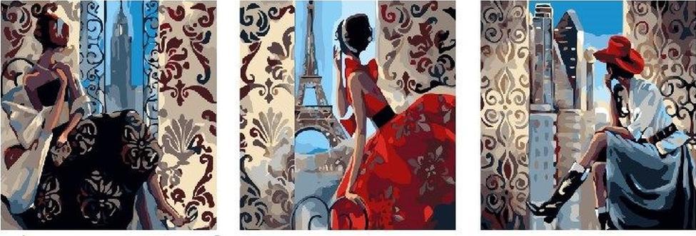 Купить Картина по номерам «Три незнакомки», Paintboy (Premium), 3 шт. 50x50 см, PX5086