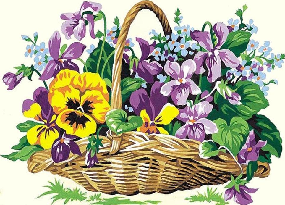 Класс открытка, цветы в корзинке картинки нарисованные