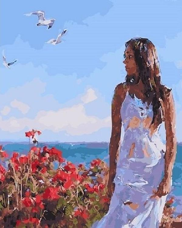 Купить Картина по номерам «Девушка в белом», Paintboy (Premium), GX22184