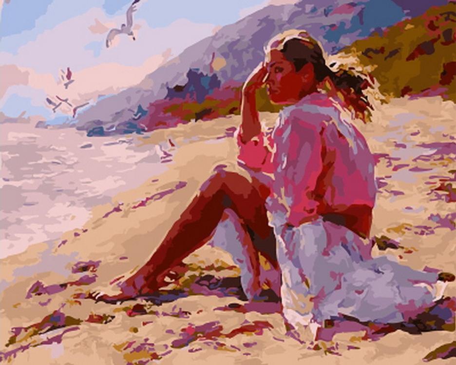 Купить Картина по номерам «Девушка на пляже», Paintboy (Premium), GX22188