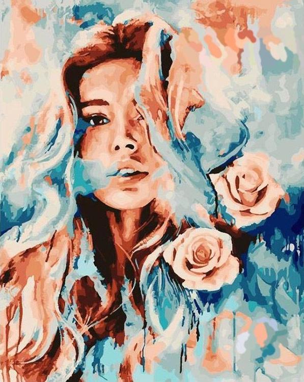 Картина по номерам «Девушка и розы», Paintboy (Premium), GX23282/PK6027  - купить со скидкой