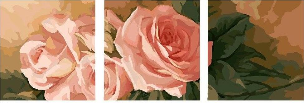 Купить Картина по номерам «Нежные розы», Paintboy (Premium), Китай, 3 шт. 50x50 см, P067