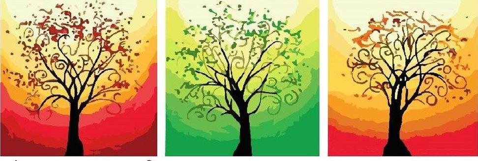 Купить Картина по номерам «Деревца», Paintboy (Premium), Китай, 3 шт. 50x50 см, P076