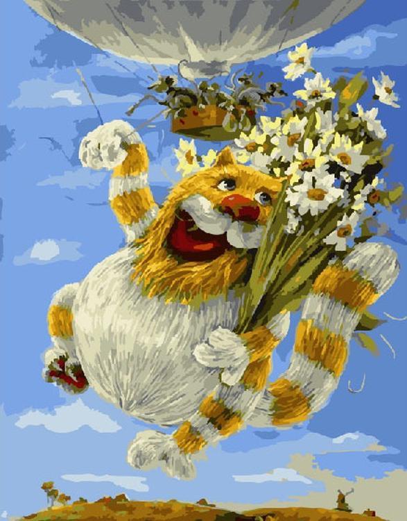 Купить Картина по номерам «Кот с букетом», Paintboy (Premium), Китай, GX5043