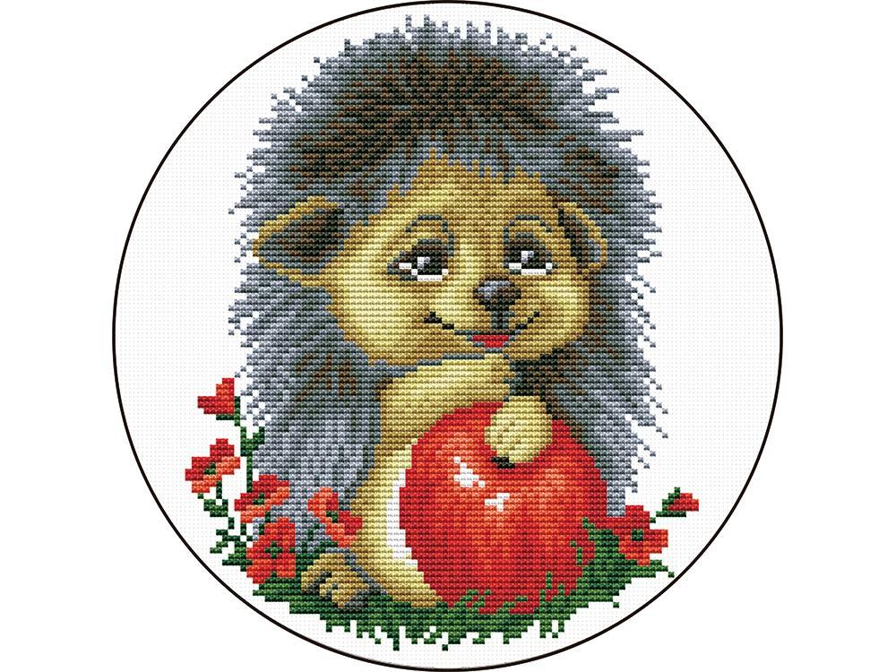 Купить Вышивка крестом, Набор для вышивания «Ежик с яблоком», Цветной, 21x21 см, VC016