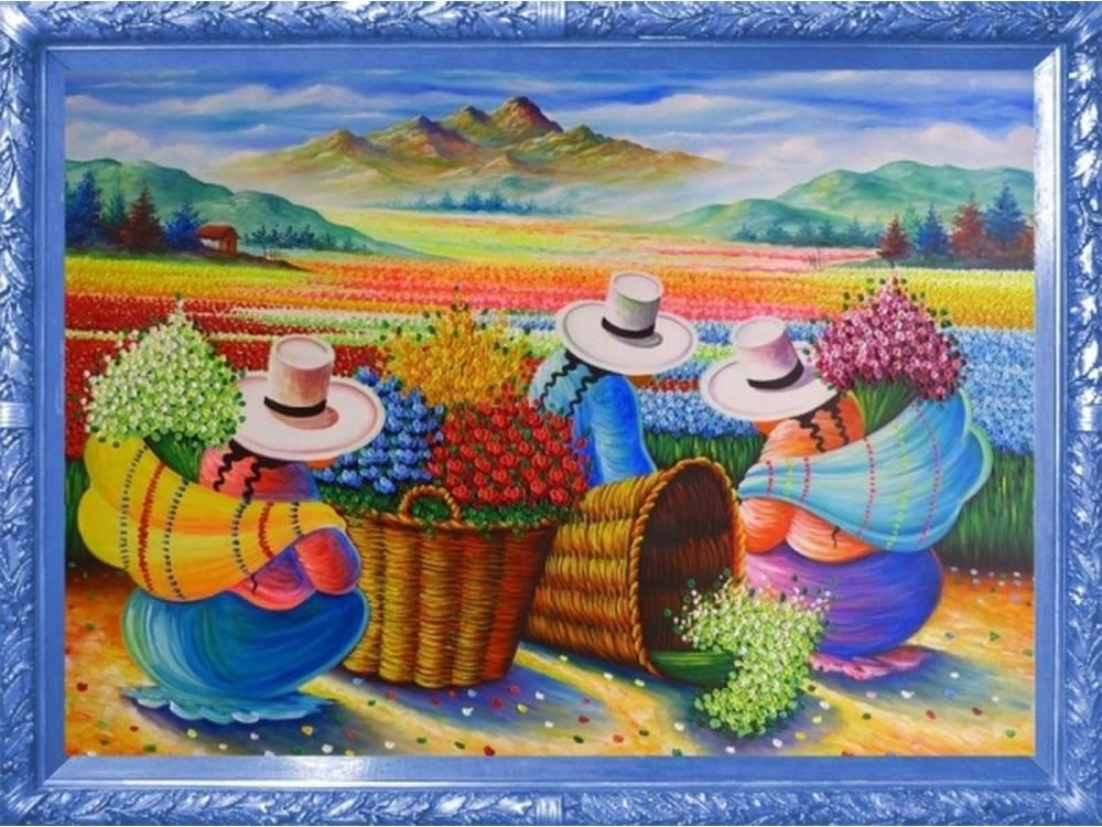 Купить Вышивка бисером, Набор вышивки бисером «Цветочницы», Color KIT, 30x40 см, VS011