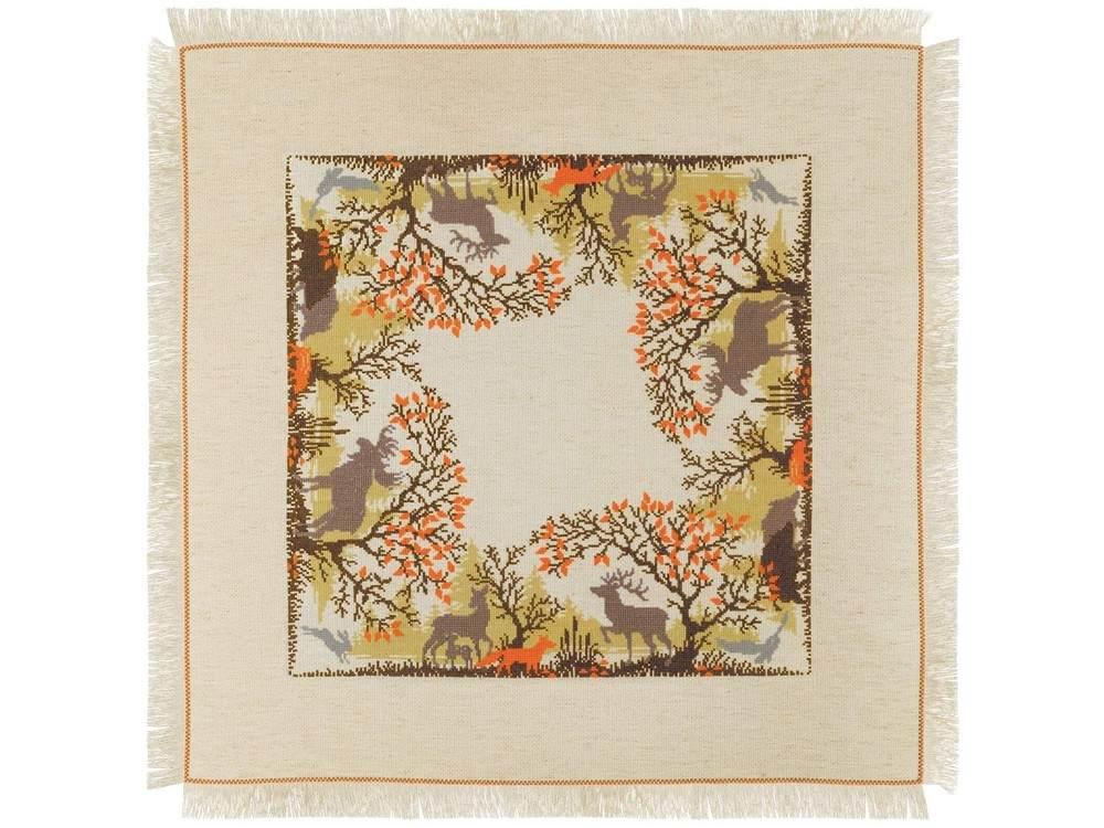 Купить Вышивка крестом, Набор для вышивания «Салфетка. Лесные животные», Риолис (Сотвори Сама), 72x72 см, 1739