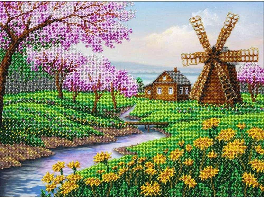 Купить Вышивка бисером, Набор вышивки бисером «В краю весны», Паутинка, 38x28 см, Б-1438