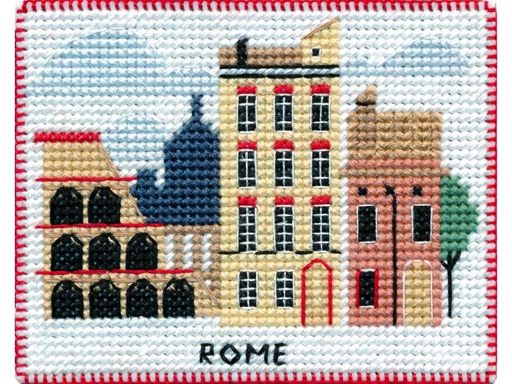 Купить Вышивка крестом, Набор для вышивания «Магнит. Столицы мира. Рим», Овен, 9x7 см, 1068