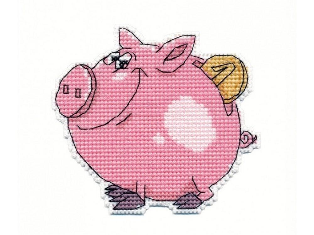 Купить Вышивка крестом, Набор для вышивания «Свинка-копилка», Овен, 9x8 см, 1086