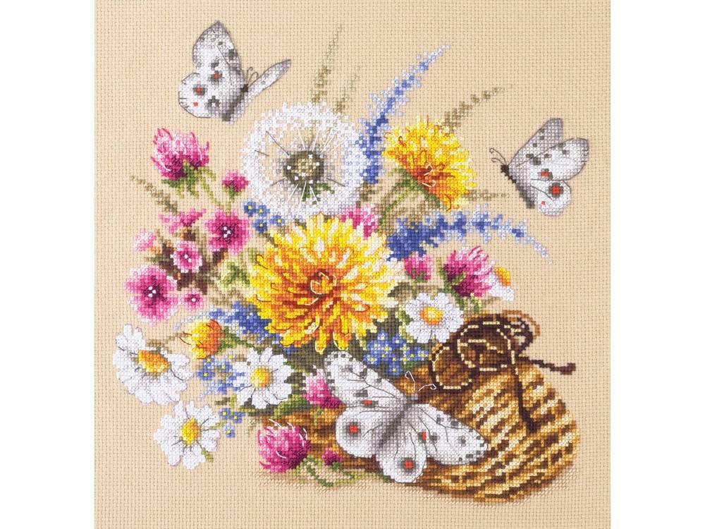 Купить Вышивка крестом, Набор для вышивания «Луговые цветы», Чудесная игла, 25x25 см, 40-81