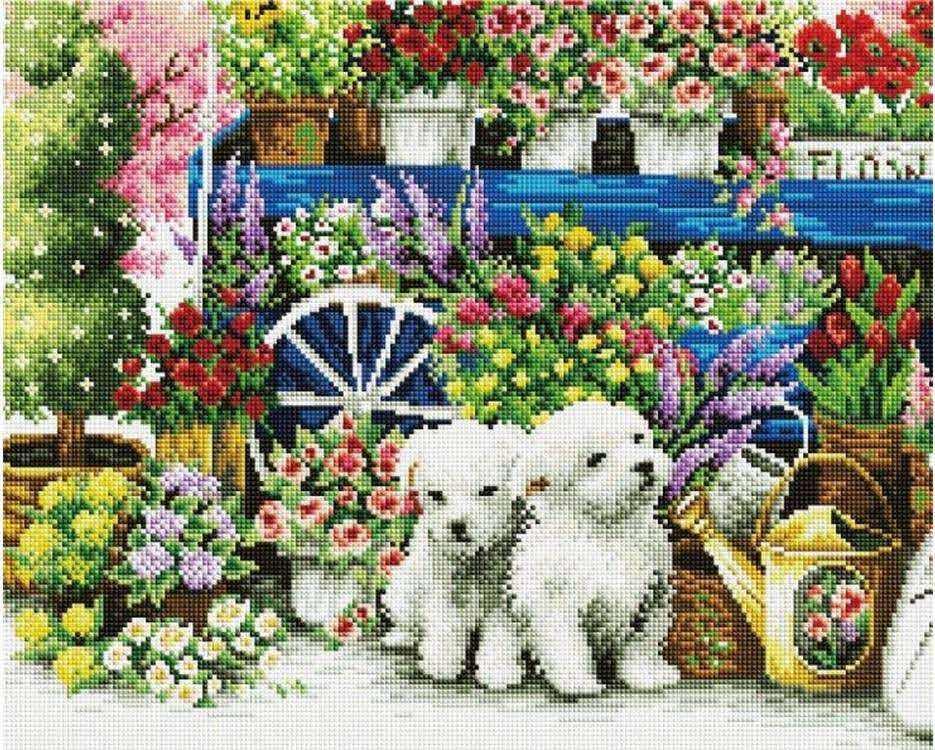 Алмазная вышивка «Щенки среди цветов» Painting