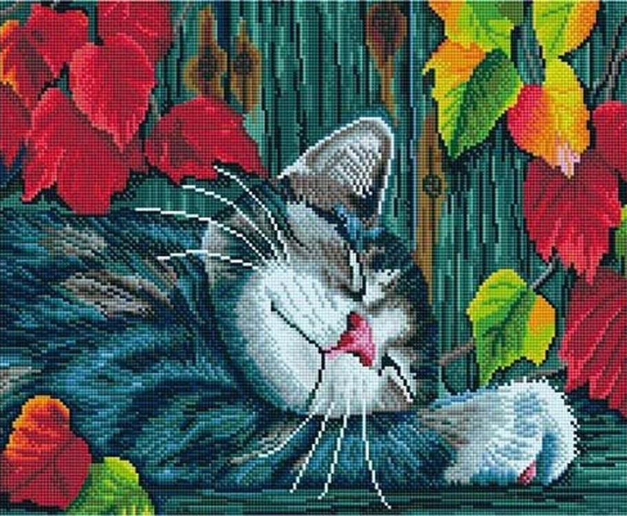 Купить Алмазная вышивка «Спящий кот», Painting Diamond, 40x50 см, GF769