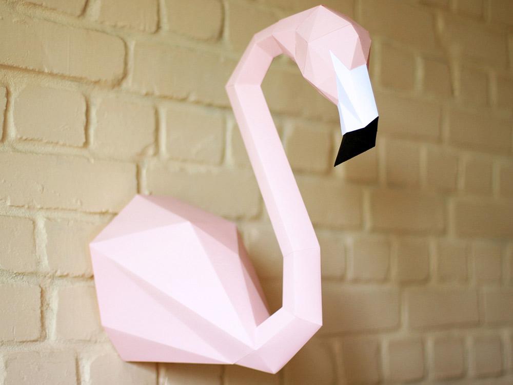 Купить Бумажная модель для склеивания трофей «Фламинго», Бумажная логика, Розовый+белый+черный, 40 см (высота), flamingo