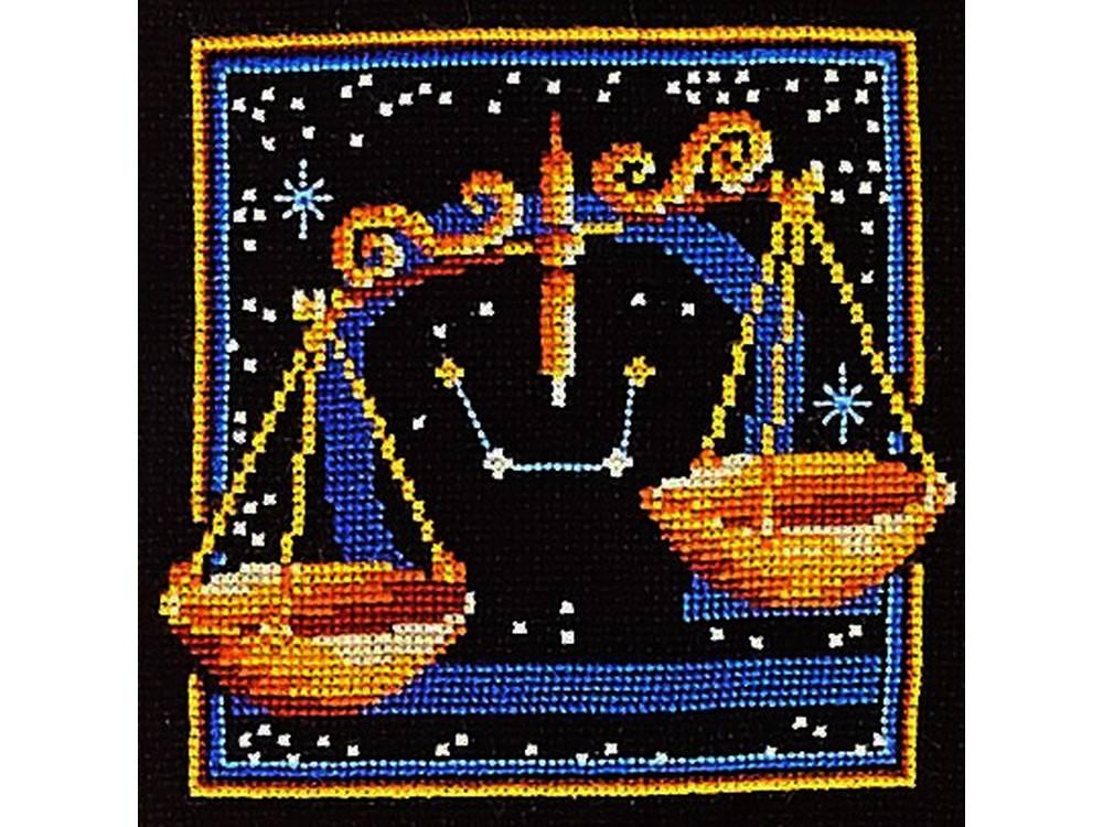 Купить Вышивка крестом, Набор для вышивания «Знаки зодиака. Весы», Сделай своими руками, 16x16 см, З-09