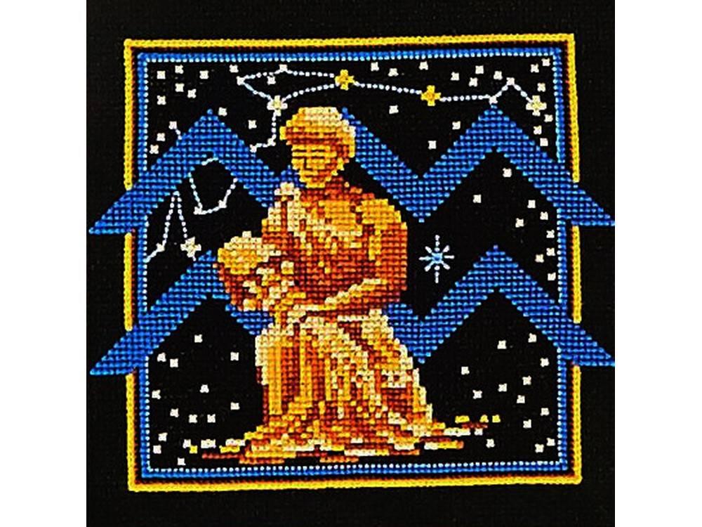 Купить Вышивка крестом, Набор для вышивания «Знаки зодиака. Водолей», Сделай своими руками, 16x16 см, З-10