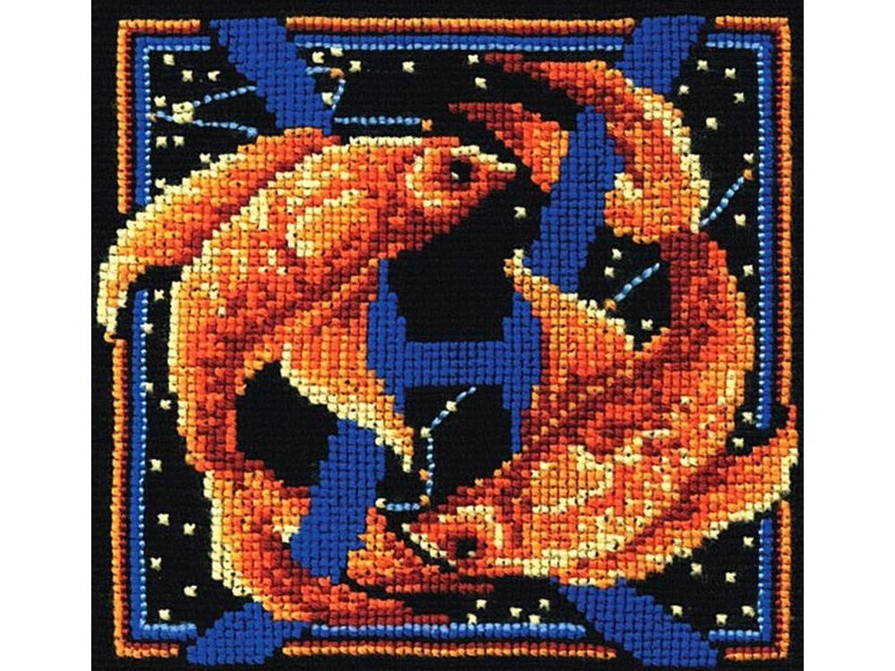 Купить Вышивка крестом, Набор для вышивания «Знаки зодиака. Рыбы», Сделай своими руками, 16x16 см, З-16