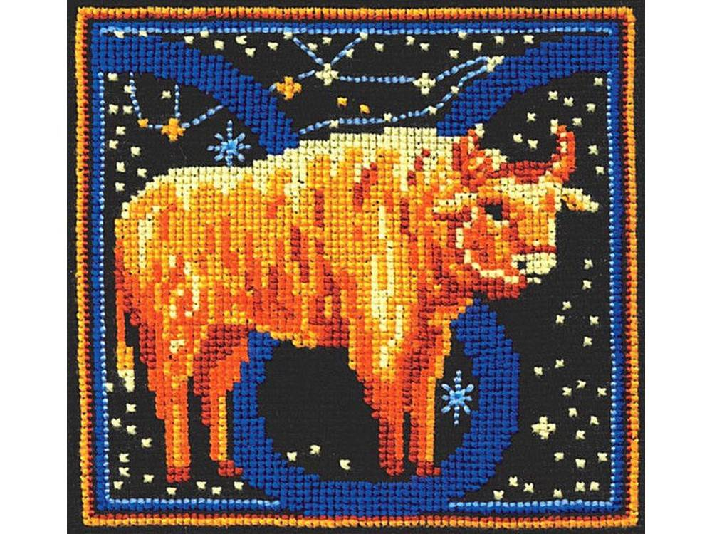 Купить Вышивка крестом, Набор для вышивания «Знаки зодиака. Телец», Сделай своими руками, 16x16 см, З-19