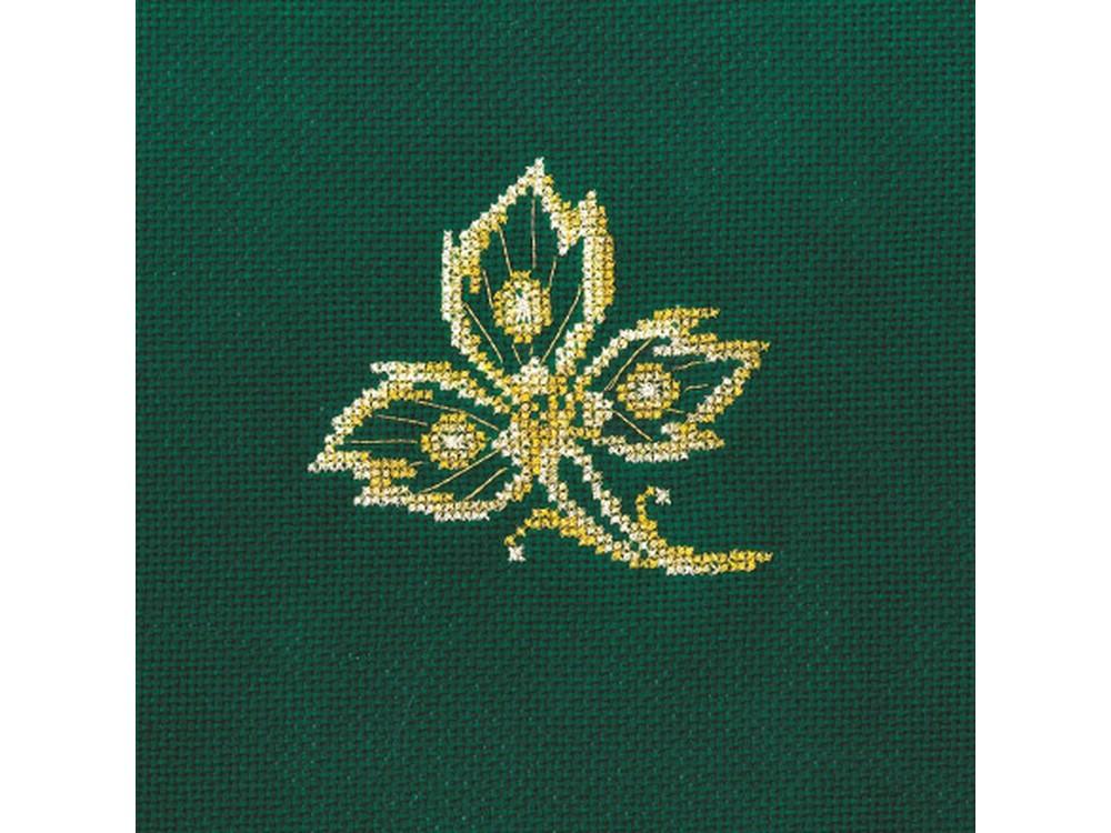 Вышивка крестом, Набор для вышивания «Золотые украшения. Лист», Сделай своими руками, 12x12 см, З-24  - купить со скидкой