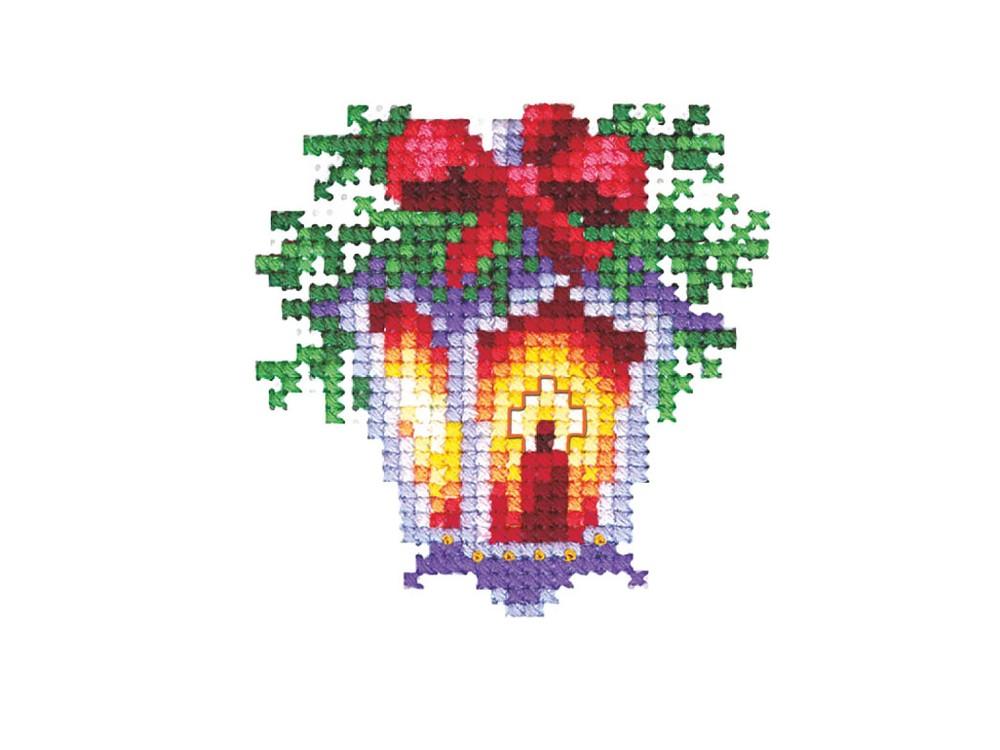 Купить Вышивка крестом, Набор для вышивания «Новогодние игрушки. Фонарик», Сделай своими руками, 6x6 см, Н-20
