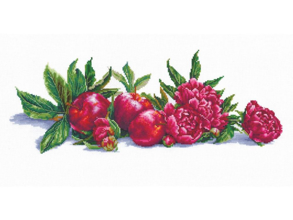 Купить Вышивка крестом, Набор для вышивания «Яблоки и пионы», Сделай своими руками, 45x17 см, Я-02