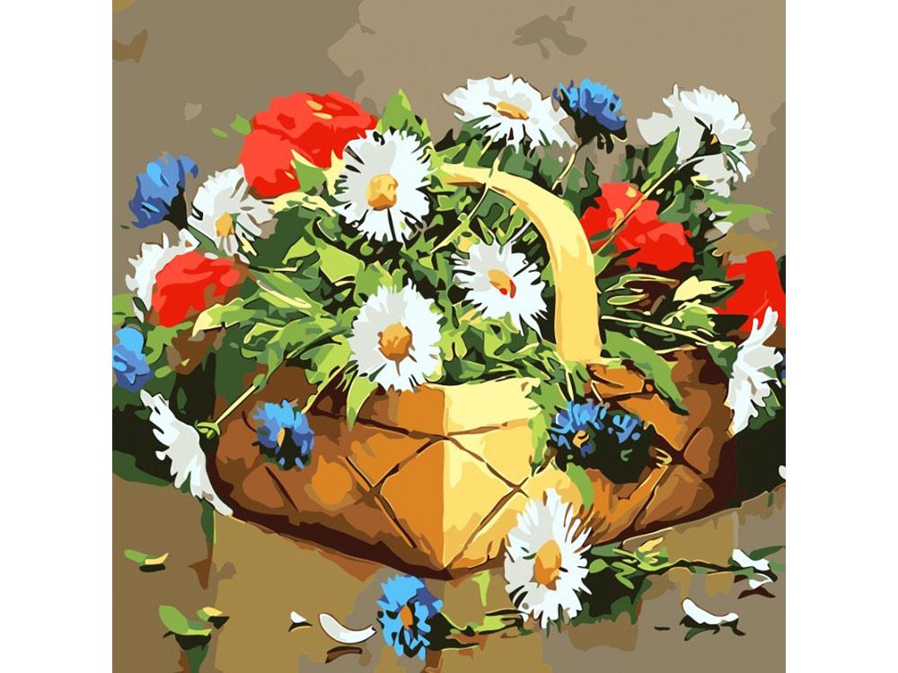 Купить Картина по номерам, Открытка по номерам «Лукошко с сюрпризом», Color KIT, Россия, 30x30 см, AC021