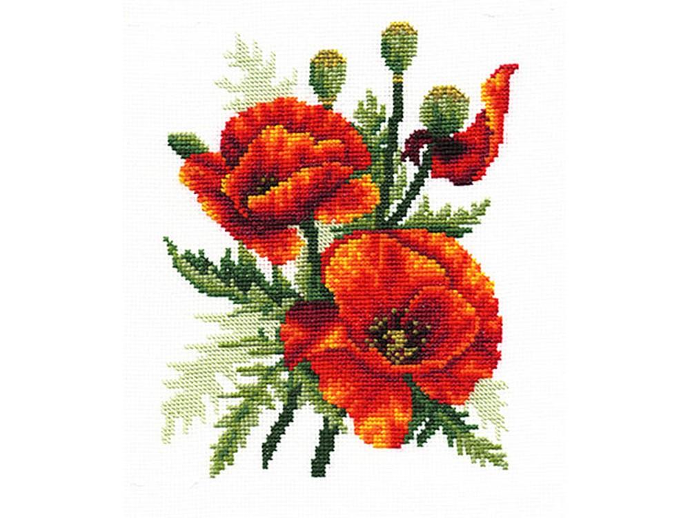 Купить Вышивка крестом, Набор для вышивания «Огненные маки», Сделай своими руками, 15x21 см, О-06