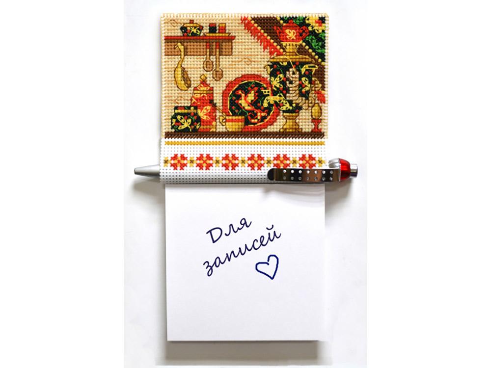 Купить Вышивка крестом, Набор для вышивания «Магнит с блоком для записей. Хохлома», Овен, общий: 9, 5x18, 5 см, вышивка: 9, 5x9, 1110